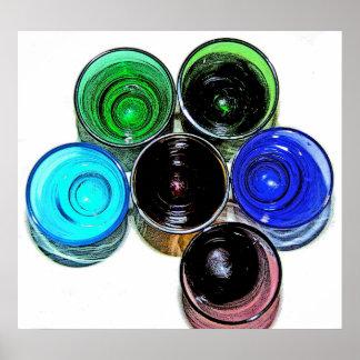 6 farbige Cocktail-Schnapsglas e-ähnlich 8 Plakate
