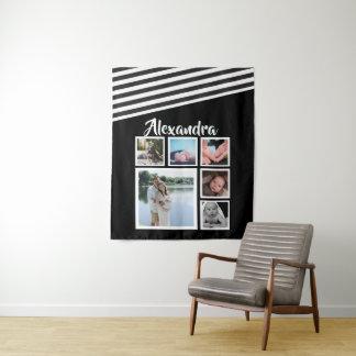 6 Foto-Collagen-Schwarz-gestreiftes Muster Wandteppich