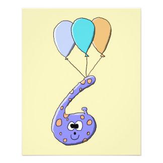 6. Geburtstag, lila Geburtstags-Monster-Karikatur 11,4 X 14,2 Cm Flyer