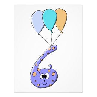 6. Geburtstag, lila Geburtstags-Monster-Karikatur Individuelle Flyer