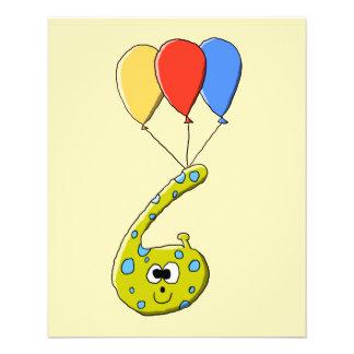 6. Geburtstags-Cartoon-Monster 11,4 X 14,2 Cm Flyer