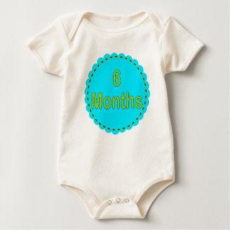 6 Monats-aquamarine u. Limone Baby-Ausstattung Baby Strampler
