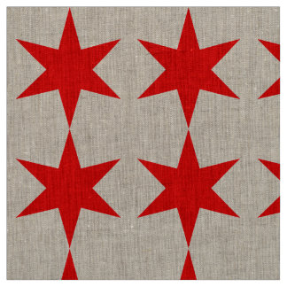 6-Pointed Chicago Flaggen-roter Stern Stoff