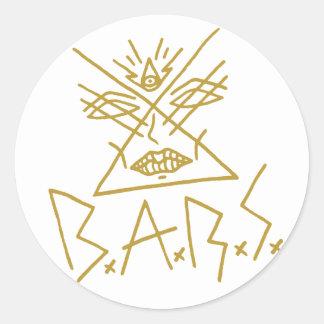 """6x B.A.R.S. Goldgesichts-Aufkleber 3"""" Runder Aufkleber"""