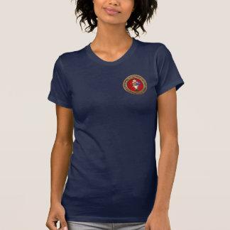 [700] Rosiges Kreuz (Rose Croix) auf Rot u. Gold T-Shirt