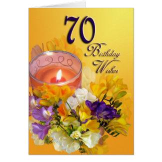 70. Alles- Gute zum Geburtstagkarte - Freesias und Karte