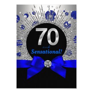 70. der Geburtstags-Party-königliches Blau und Karte