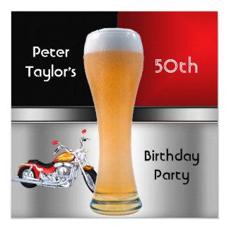 70. der Geburtstags-Party-rotes Bier-Motorrad der Quadratische 13,3 Cm Einladungskarte