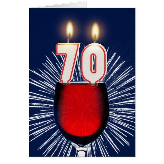 70. Geburtstag mit Wein und Kerzen Grußkarte