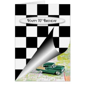 70. Geburtstags-Auto Grußkarte