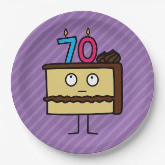 70. Geburtstags-Kuchen mit Kerzen Pappteller