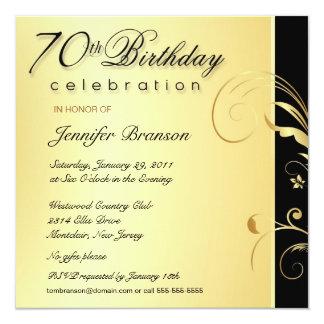 70. Geburtstags-Party - das elegante Blumen Gold Einladungen