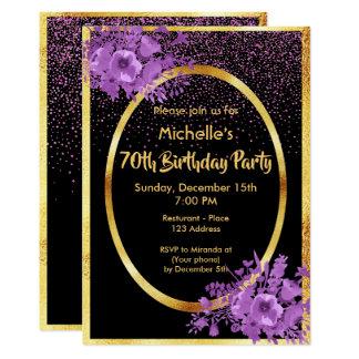 70. Geburtstags-Party Einladungsgold und Karte
