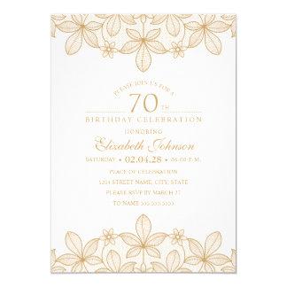 70. Geburtstags-Party-einzigartige goldene Spitze Karte