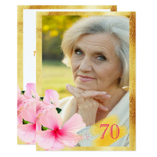 70. Geburtstags-Party-Foto-Hibiskus-Goldrahmen Karte