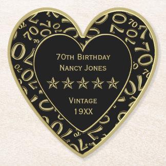 70. Geburtstags-Party-Gold/schwarzes Thema Untersetzer