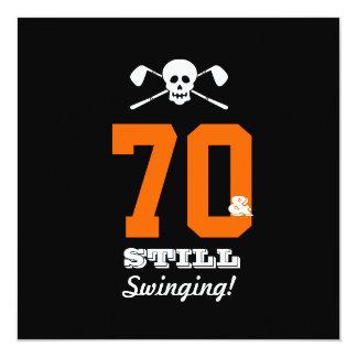 70. Geburtstags-Party-Golf - noch schwingend! Quadratische 13,3 Cm Einladungskarte