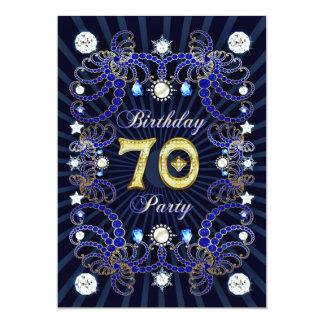 70. Geburtstags-Party laden mit Massen der Juwelen 12,7 X 17,8 Cm Einladungskarte