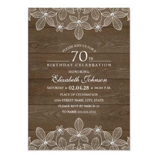 70. Geburtstags-Party rustikale hölzerne Karte