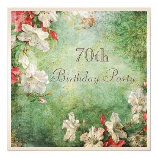 70. Geburtstags-Party-Shabby Chic-Hibiskus-Blumen Personalisierte Einladungskarten