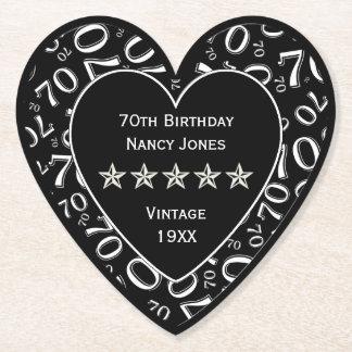 70. Geburtstags-Party-weißes/schwarzes Thema Untersetzer
