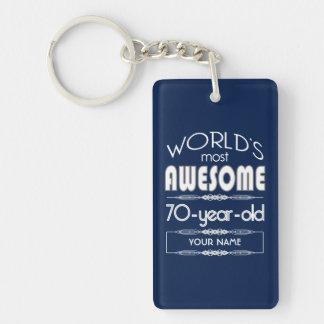 70. Geburtstags-Weltgut fabelhaftes dunkelblaues Schlüsselanhänger