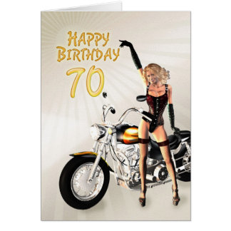 70. Geburtstagskarte mit einem Motorradmädchen Grußkarte