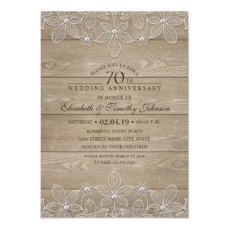 70. Hochzeits-Jahrestags-rustikale hölzerne Karte