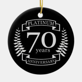 70. Hochzeitstag PLATIN Rundes Keramik Ornament