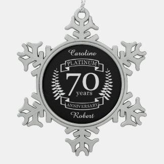 70. Hochzeitstag PLATIN Schneeflocken Zinn-Ornament