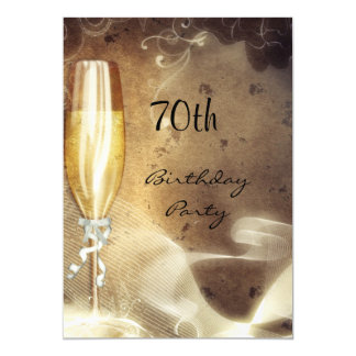 70. Sepia-Champagne-Glas Karte