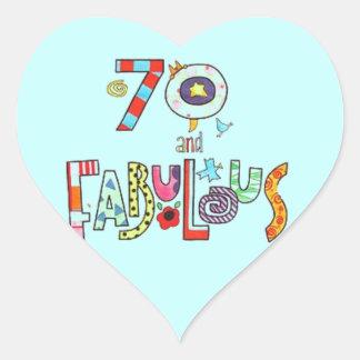 70 und fabelhafter glücklicher 70. Geburtstag Herz-Aufkleber