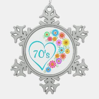 70er Herz-Blumen Schneeflocken Zinn-Ornament