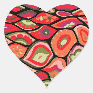 70er psychedelisch Herz-Aufkleber