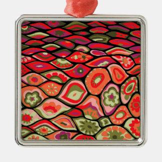 70er psychedelisch quadratisches silberfarbenes ornament