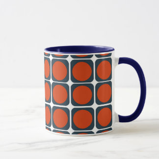 70er Retro Muster in Orange u. in Blauem Tasse