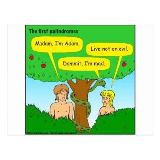 715 Adam und Vorabend Palindromes-Cartoon Postkarte
