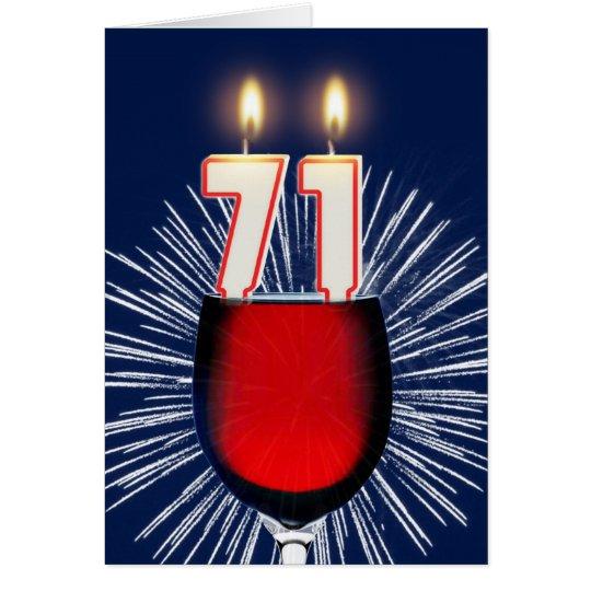 71. Geburtstag mit Wein und Kerzen Grußkarte