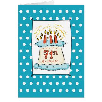 71. Geburtstags-Kuchen auf blauem aquamarinem mit Karte
