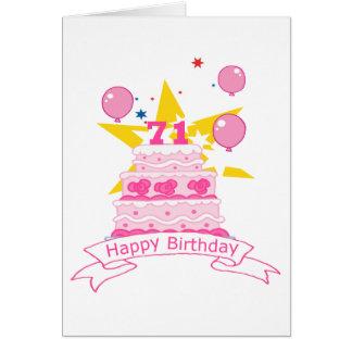 71 Jährig-Geburtstags-Kuchen Karte