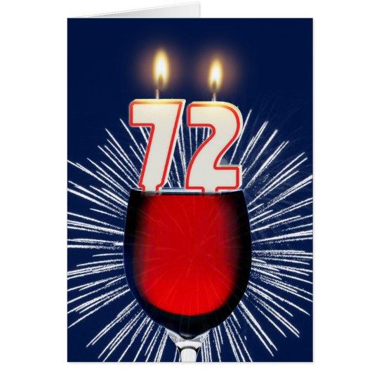 72. Geburtstag mit Wein und Kerzen Grußkarte
