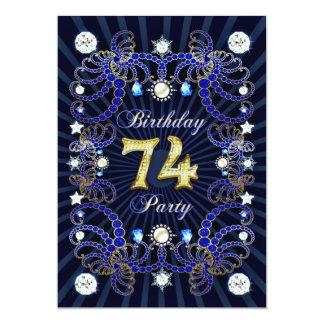 74. Geburtstags-Party laden mit Massen der Juwelen 12,7 X 17,8 Cm Einladungskarte