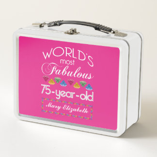 75. Geburtstag das meiste fabelhafte bunte Metall Lunch Box