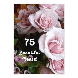 75. Geburtstags-Partei-Rosa-Rosen-Blumenstrauß 12,7 X 17,8 Cm Einladungskarte