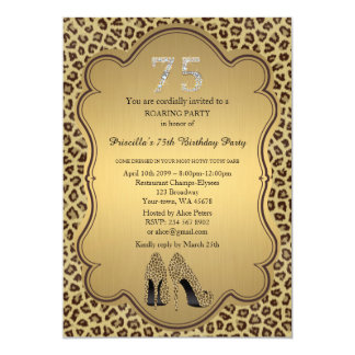 75., Geburtstags-Party 75., Cheetah-hohe Karte