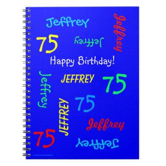 75. Geburtstags-Party-blaues Gast-Buch, Spiral Notizblock