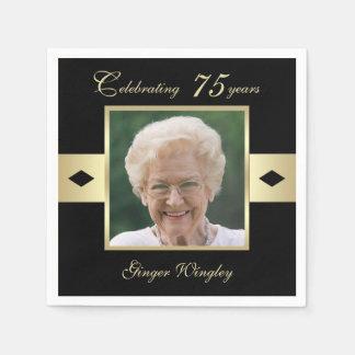 75. Geburtstags-Party-Foto auf schwarzem Papier Serviette
