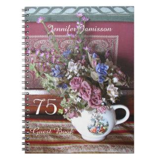75. Geburtstags-Party-Gast-Buch, Vintage Teekanne Spiralblöcke