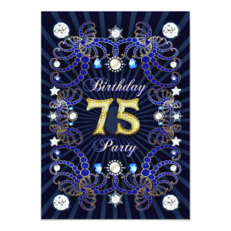 75. Geburtstags-Party laden mit Massen der Juwelen 12,7 X 17,8 Cm Einladungskarte