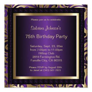 75. Geburtstags-Party lila und Goldeinladung Karte